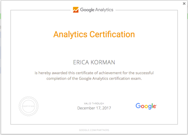 Google Analytics Certificate for Erica Korman